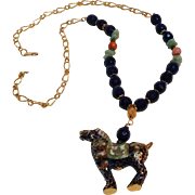 Hobe necklace cloisonne enamel horse pendant stone and glass bead