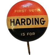 SOLD First Suffrage women vote badge button pin Harding Coolidge 1920 election