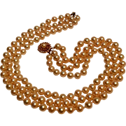 Danecraft 3 strand simulated pearls sterling vermeil clasp