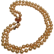 Danecraft sterling vermeil clasp two strand simulated pearl necklace