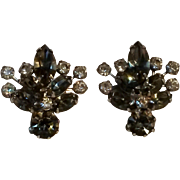 Weiss smoke and colorless rhinestone clip earrings