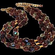 Trifari purple glass Swarovski nailhead crystal bead necklace three strand