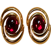 Napier red glass cabochon earrings tension screw clips