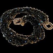 Kenneth Lane five strand faceted black glass bead choker