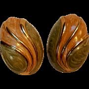 Monet enamel egg clip earrings peach  and green swirl