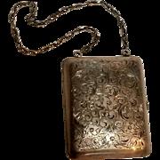 Antique sterling dance purse mechanical pencil, mirror wallet celluloid card