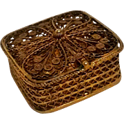 800 Silver filigree box gilt rosary trinket