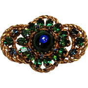 Peacock glass and rhinestone brooch pin blue green