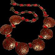 Red enamel pierced cut work plaques necklace