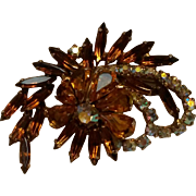 Rhinestone pin amber navette aurora borealis chatons
