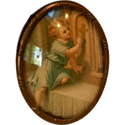 Miniature print on silk child at the altar bubble glass L M & C France