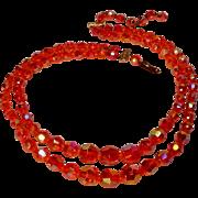 West Germany orange glass bead necklace two strand
