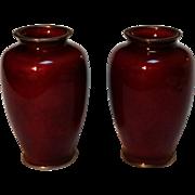 Yamamoto Japanese Ginbari Akasuke enamel vases pigeon blood red