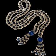 Lariat necklace flapper length blue glass beads tassel ends