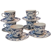 Six Royal Copenhagen fluted blue full lace tea cups and saucers 1035