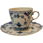 Royal Copenhagen blue fluted full lace tea cup and saucer set of two