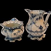Royal Copenhagen blue fluted full lace creamer and sugar bowl 1140 1112