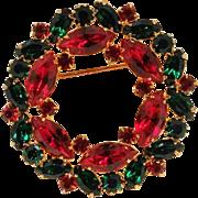Eisenberg Ice Christmas wreath pin green red rhinestone