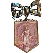 Miraculous Mary medal pin sterling silver pink enamel in box