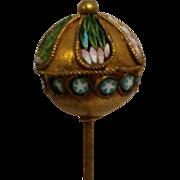 Antique Italian  mosaic hat pin