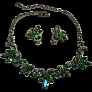 Weiss peridot green rhinestone necklace earrings set