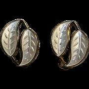 David Andersen Norway sterling white enamel double leaf clip earrings