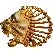 Lion head pin gilt brass