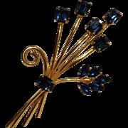 Sterling silver gilt pin blue rhinestone