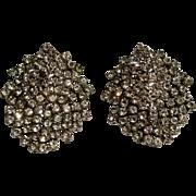 Shaggy rhinestone clip earrings