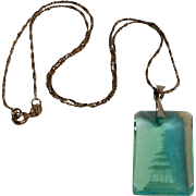 Japanese blue pagoda crystal  pendant necklace sterling chain