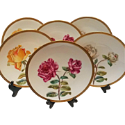 Six T&V Limoges plates hand painted roses Ovington Bros