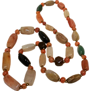 """Polished natural stone bead necklace 30"""" long"""