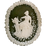 Jasperware wall plaque Cupid and Psyche green