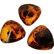 Tortoise shell Bakelite buttons three