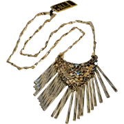 Hobe necklace mesh pendant glass fringe
