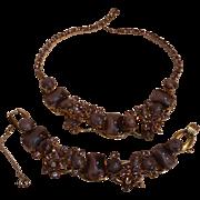 Juliana purple glass moonstone rhinestone bracelet necklace set