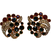 Trifari rhinestone clip earrings gem stone colors red, blue green