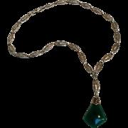 Edwardian Art Deco filigree necklace   green pendant