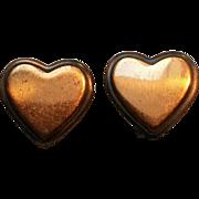 Rebajes copper heart clip earrings