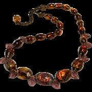 Venetian opalescent fire foil glass bead necklace purple leaves