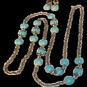 Trifari waterfall companion necklace and drop earrings set light blue