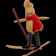 SOLD Heubach cotton bisque face boy googly eyes Christmas ornament skier antique