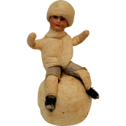 SOLD Antique Heubach Christmas ornament bisque face spun cotton boy on a snowball