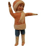 SOLD Heubach Germany antique Christmas ornament bisque head spun cotton little girl