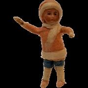 SOLD Antique bisque head spun  cotton girl  Christmas ornament Heubach