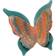 Vintage butterfly pin blue enamel and embroidered pastel thread
