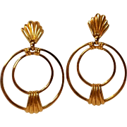 Trifari hoop drop earrings clip