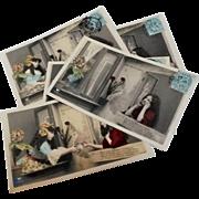 Edwardian fantasy postcard series Paris girls Bon Petit Coeur  real photo