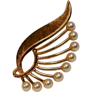 14K Gold pin cultured pearls Jerome Fleischer & Company