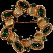 SALE PENDING Trifari green rhinestone circle wreath pin